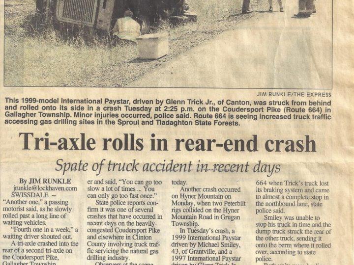 Tri-Axle Rolls In Rear-End Crash